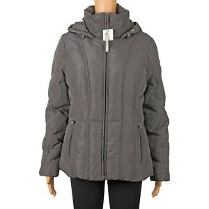 Calvin Klein Women Short Hooded Down Coat Titanium Gray Size M #2