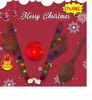 Rudolph Car Costume Christmas Reindeer Antlers & Red Nose for Truck SUV Decor UK