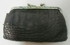Vintage Double Sided Pocket Coin Purse Brown Leather Pattern