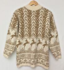 Vintage Rafaella Womens Cream Tan Fuzzy Angora Reindeer Ski Sweater Medium