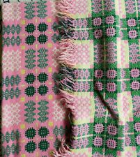 More details for vintage welsh pure wool tapestry reversible blanket rare colours collectible