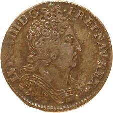 L1934 RARE 1/10 ecu Louis XIV 3 couronnes 1711/0 E Tours Argent Silver - F offre