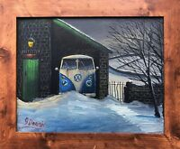 NORTHERN ARTIST JAMES DOWNIE ORIGINAL OIL PAINTING 'VW CAMPER VAN IN SNOW