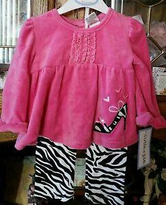 NWT CUTIE PIE Hot Pink Black 2 Pc Velour Zebra High Heel Shoe Pantset 3-6 Mos.