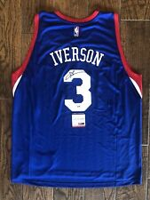 a8baee026 Allen Iverson Signed Blue Philadelphia 76ers Basketball Jersey PSA DNA