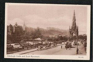 Edinburgh Castle and Scott Monument 1940's ? Postcard