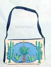"Purse Handbag Desert Cactus Design Cotton Canvas 13x19"" Zips close Southwest"