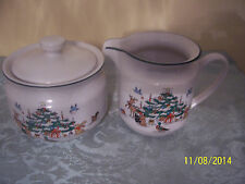 2pc Ming Pao WOODLAND CHRISTMAS SUGAR BOWL + LID & CREAMER  Tree Forest Animals