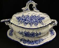 Softpaste Decorated Tureen, Ladle & Under Tray Lot 2105