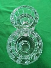 Candle Holder Tea Light Or Tapered Candles Set Of 2 Clear Glass