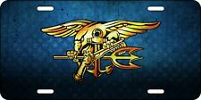 Patriotic US Navy Seal Aluminum Blue & Gold Trident License Plate Tag w/ Stars