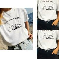 """Ladies """"There is no Planet B"""" Printed White T-Shirt Short Sleeve Summer Tops"""