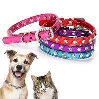 Cat Pet PU Leather Adjustable Buckle Neck Strap Rhinestone Dog Collar Necklace