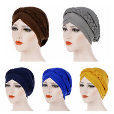 Women Lady Muslim Braid Head Hijab Turban Wrap Cover Cancer Chemo Cap Hats UK