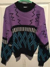 vtg Nils Ski Sweater RETRO FUN FUNKY wool/acrylic Size L, Abstract Unique