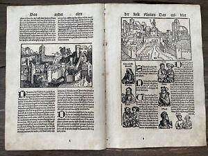 Schedel Weltchronik Schönsperger, Inkunabel 1497 Holzschnitt Doppelblatt