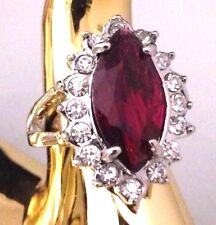 Vintage Cocktail Ring Magenta Glass Crystal Accents Costume Retro Size 9