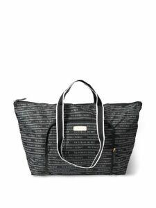 Victoria's Secret Iconic Logo Packable Duffle Travel Tote Bag Shopper Black New