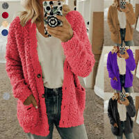 Oversized Womens Long Sleeve Fleece Fluffy Cardigan Sweater Pocket Jacket Coat