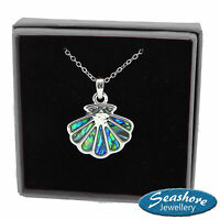 "Seashell Necklace Abalone Shell Scallop Pendant Silver Fashion Jewellery 18"""