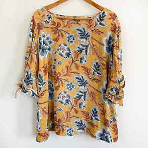 Soft Surroundings Women's Plus Floral 3/4 Tie Sleeve Tunic Yellow Blue 1X