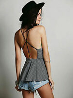 New Free People Womens Striped Tabby Cat Fit & Flare Tank Cami Peplum Top $30