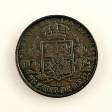1858 Spain 25 Centimo (Vf+) very Fine Plus Condition