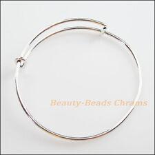 2Pcs Expandable Bangle Bracelet Wire Wrap Adjustable Single Loop Textured 66mm