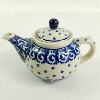 Vintage Boleslawiec Polish Pottery Ceramika Teapot Blue Dot Floral - EUC
