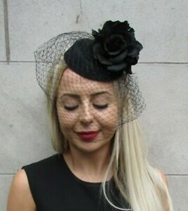 Black Rose Birdcage Veil Flower Pillbox Hat Hair Fascinator Clip Cocktail 7302