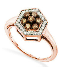 10K Rose Gold Chocolate Brown Diamond Ring Band .50ct Hexagon Halo Cluster