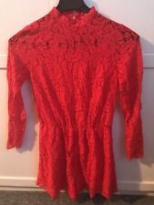 H&M Red Lace Long Sleeved Playsuit - Women's Size 10