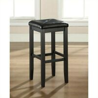 """Crosley 29"""" Faux Leather Tufted Bar Stool in Black (Set of 2)"""