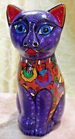 VINTAGE MEXICAN HAND PAINTED Wedding Theme CAT POTTERY/MEXICAN FOLK ART