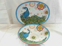 """Dutch Wax Embossed Peacock Flowers Oval Platter 13 3/4"""" & Serving Bowl 10"""" w1s7"""