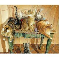 Cats Round Diamond Painting Kit 5D Craft Full Drill Embroidery DIY Decor Mural