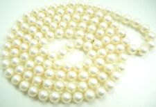 VTG OPERA LENGTH GENUINE OCEAN CULTURED PEARL NECKLACE 6.8 MM KNOTTED