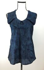 Giorgio Armani Blouse Top Size 44 Ruffled Neck Textured  Blue NWT