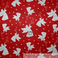 BonEful Fabric FQ Cotton Quilt Red White Xmas Angel Note Music Star Horn Trumpet