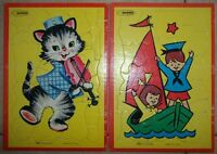 Lot of 2 Vintage, Warren 510 STA-N-PLACE Inlaid Puzzles, Made in the U.S.A.