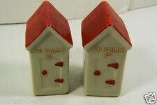 Vintage Porcelain Red Roof House I'm Fulla Salt & Pepper Shakers set with corks