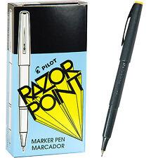 Pilot Razor Point Pens 11001 Black 03mm Extra Fine Plastic Point Pen 1 Dozen