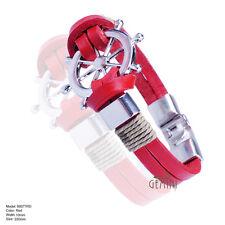 US Xmas Gifts Leather Cuff Steel Men Women Wristband Bracelets MK077FW