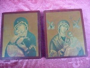 2 Belle Icônes __Madonna__ Heiligenbilder___Byzantine Art __