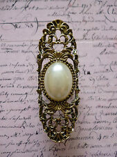 Vintage Bronze Large Tribal Pearl Elegant Filigree Jewellery Statement Ring