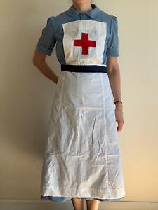 WWII WW2 UK Nurse style uniform blue dress short sleeve, apron, head cap, new