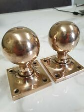 antique pair of bronze brass door knobs on square back plate