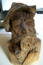 Antique Black Forest Carved Wood Figural Bust of a Bearded Man c1900 Exceptional
