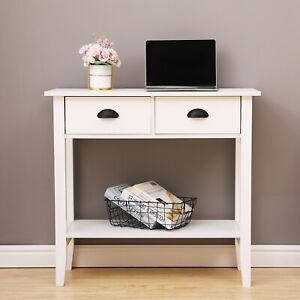 White Console Table with 2 Drawers Hall Desk Shelf Hallway Storage Furniture
