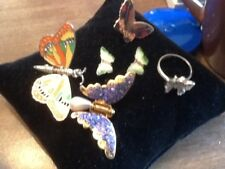 Vintage Articulated Butterfly Pin & Other Butterfly Pins Lot